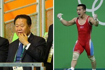 崔龙海现身观战男子举重56公斤级决赛