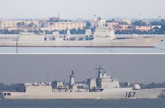 167号深圳舰改装前后对比照