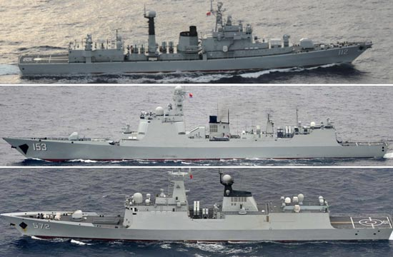 中国海军大批军舰现身日本周边