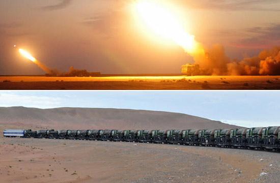 解放军拉了一火车火箭炮赴大漠