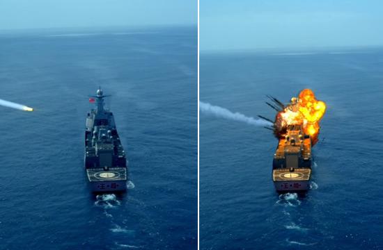美剧中052D舰被伯克舰导弹击中