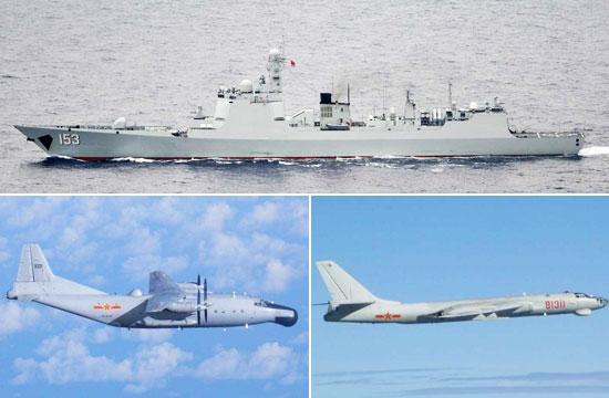 中国大批军舰战机赴日本周边