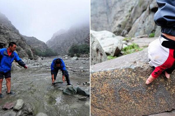 宁夏贺兰山山洪致古人类岩画被冲走