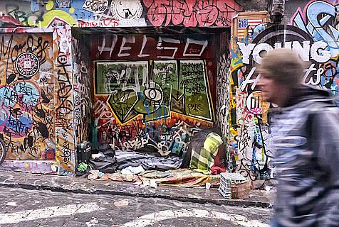 澳大利亚著名涂鸦街成瘾君子聚集地
