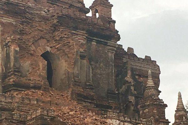 缅甸6.9级地震中印等多国有震感 蒲甘一寺庙遭损毁