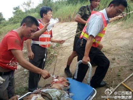 江西:大客车高速追尾货车翻出护栏 致6死25伤(图)