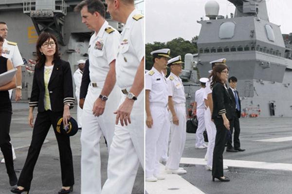 日本女防相着装再遭吐槽 踩高跟鞋视察潜艇被批没常识
