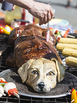 """PETA成员伦敦广场""""烤狗""""呼吁吃素"""