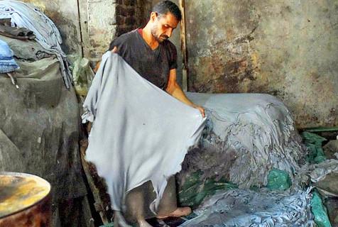 摄影师照片揭露埃及皮革厂制革生产