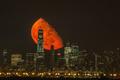 美国曼哈顿上空的绝美血色月亮