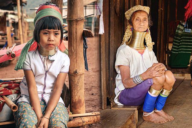 缅甸克耶邦女性脖戴黄铜圈 以颈长为美