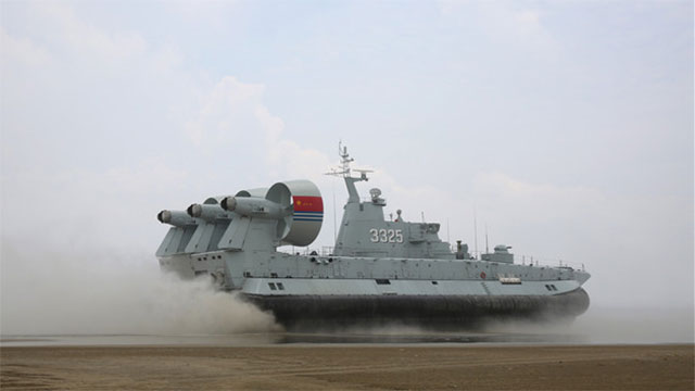 野牛气垫船南海实战冲滩演练
