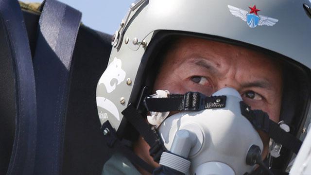 飞豹飞行员头盔上画犀利豹图