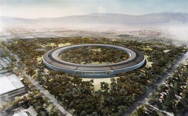 """苹果""""太空船""""屋顶安装太阳能板 礼堂即将完工"""