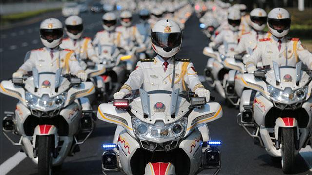 国宾护卫队白衣白车为G20保驾护航