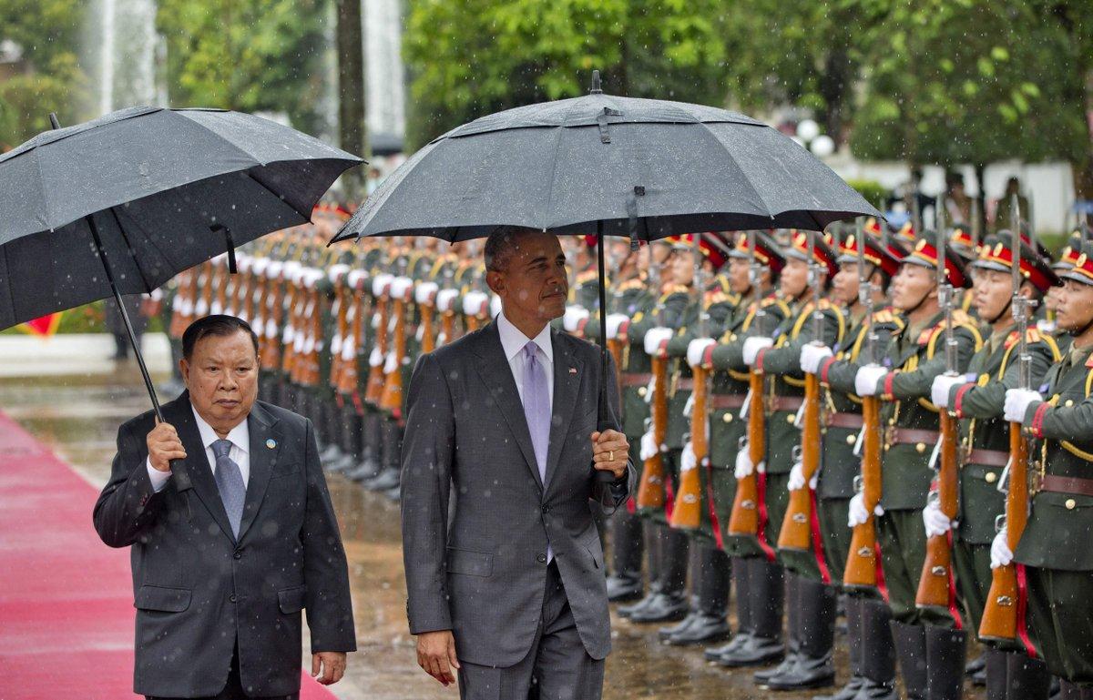 奥巴马首次访问老挝