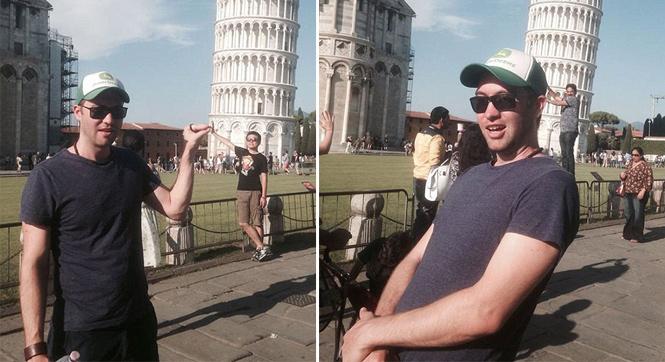 别出心裁!男子用游客与比萨斜塔合照当拍照背景