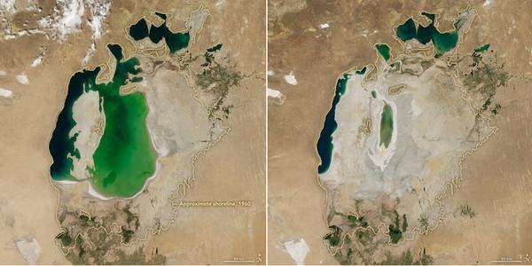 地球卫星图16年变化:第四大湖几乎消失