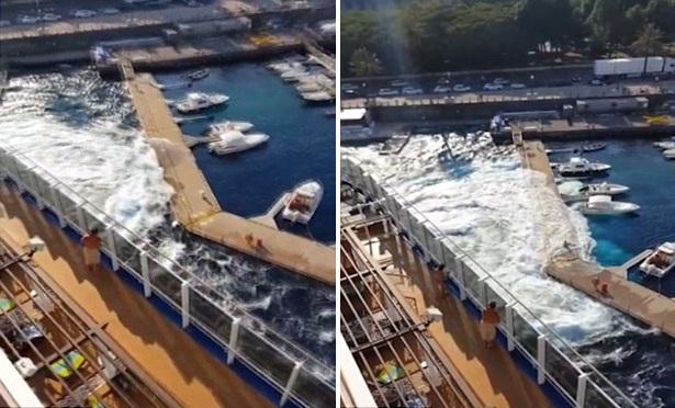 意邮轮发动掀起巨浪毁掉整个码头 造成巨量损失