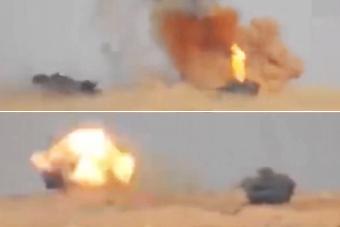 疑似两辆土耳其坦克接连被毁