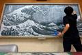 日本教师黑板上作名画