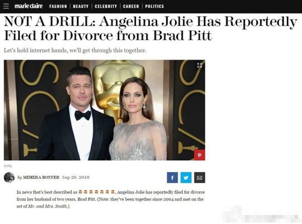 安吉丽娜朱莉律师确认离婚:为家庭的健康着想