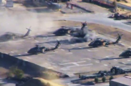 土耳其黑鹰直升机遭迫击炮袭击