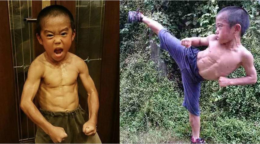 日本6岁小男孩练出一身肌肉