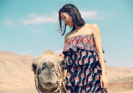 江一燕情迷沙漠 融于自然
