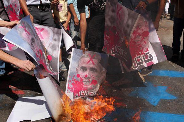 巴勒斯坦民众反美和反以色列示威 焚烧奥巴马肖像