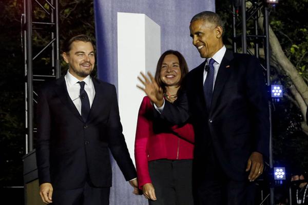 奥巴马在白宫举行气候问题座谈会 与小李子同台