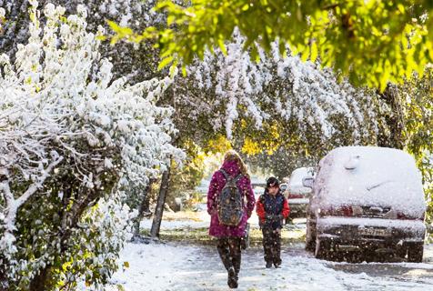 俄罗斯迎来降雪 银装素裹似童话小城
