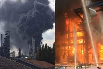 南京一炼油厂发生爆燃 现场黑烟滚滚