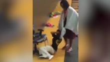 实拍残疾学生遭老师拽头发拖行