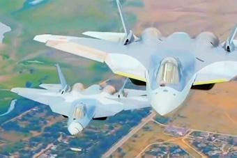 俄军T-50五代机秀双机飞行编队