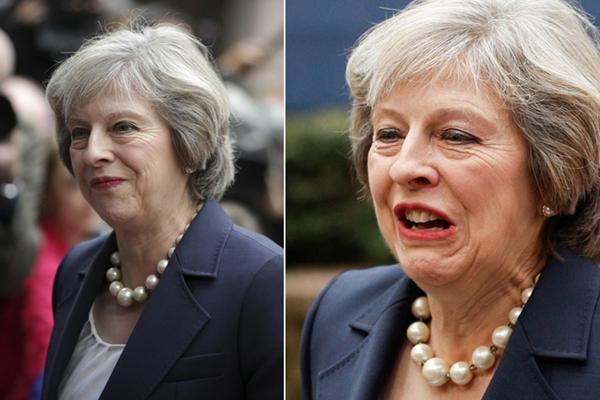 英国首相特雷莎-梅首次参加欧盟峰会 大珠链子抢眼