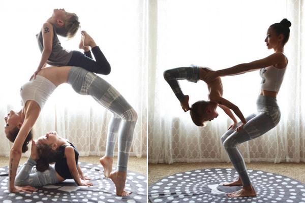 赞!美母子三人练高难度花式瑜伽引关注