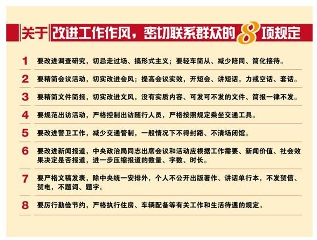 八项规定改变中国:管住嘴管住钱管出好党风
