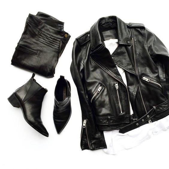 如果你也有一件黑色皮夹克,时髦过秋都不成问题了!