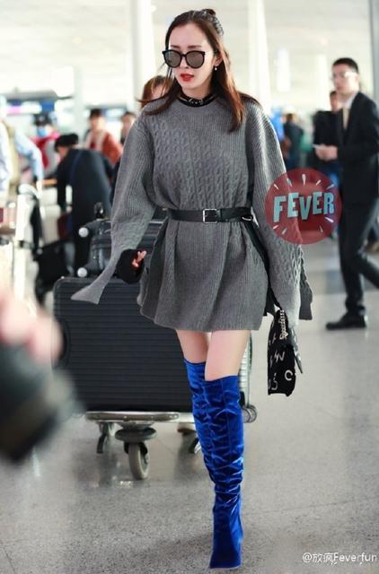 """杨幂穿""""蓝瘦""""长靴现身 这颜值身材也是没谁了"""