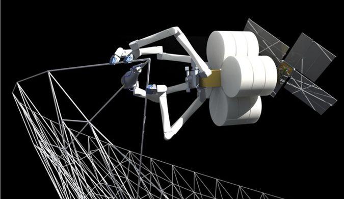 """蜘蛛机器人在太空""""吐丝""""织网 3D打印飞船零件"""