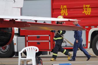 米格29刚降落消防车就来了
