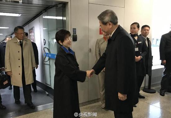 洪秀柱率大陆访问团抵京 国台办主任赴机场迎接