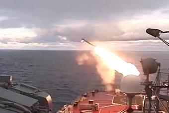 实拍俄军舰狂打各种导弹武器
