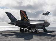 F35B在美攻击舰上训练起降