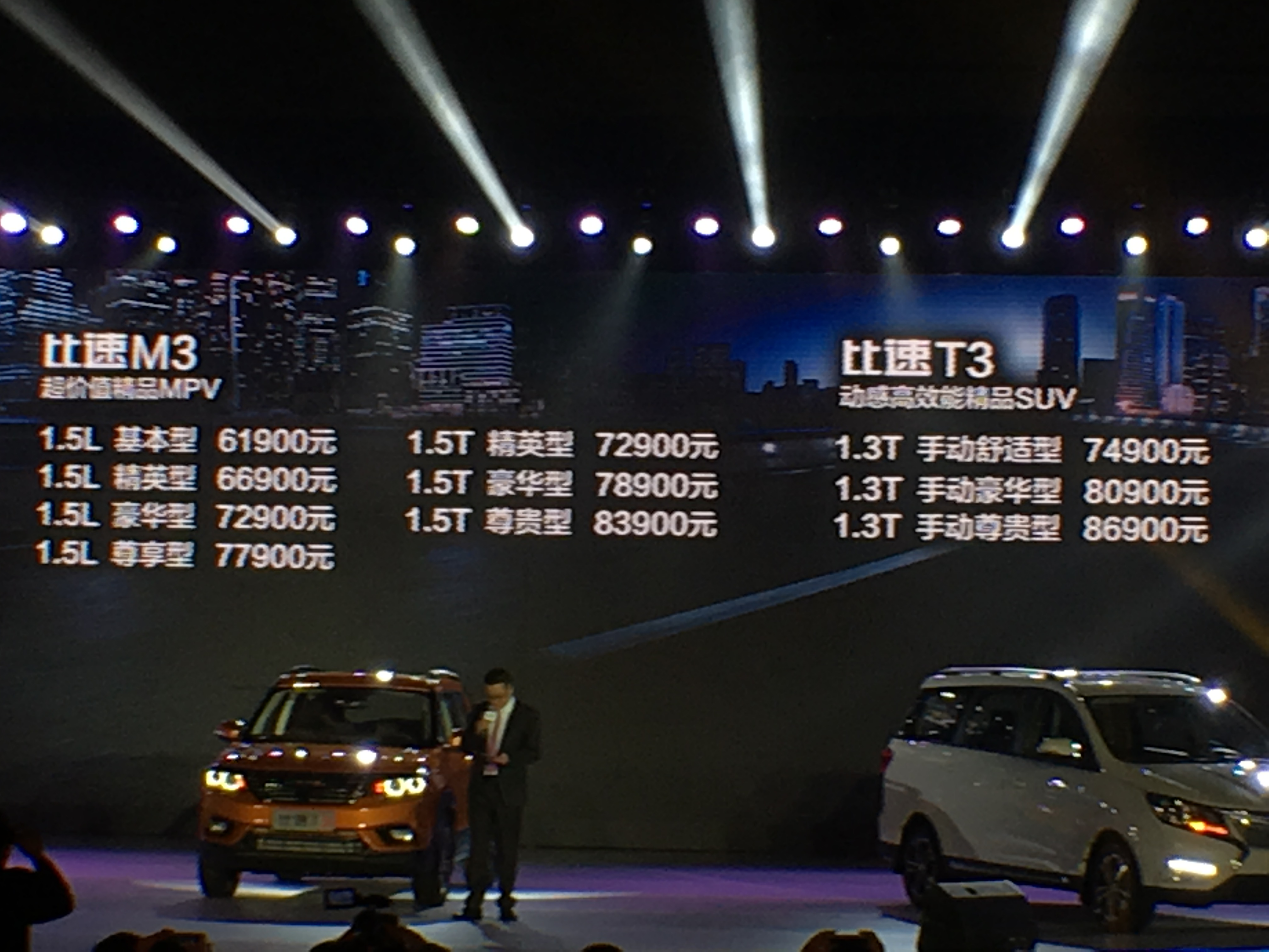 预售价6.19-8.69万元 比速汽车T3/M3预售价发布