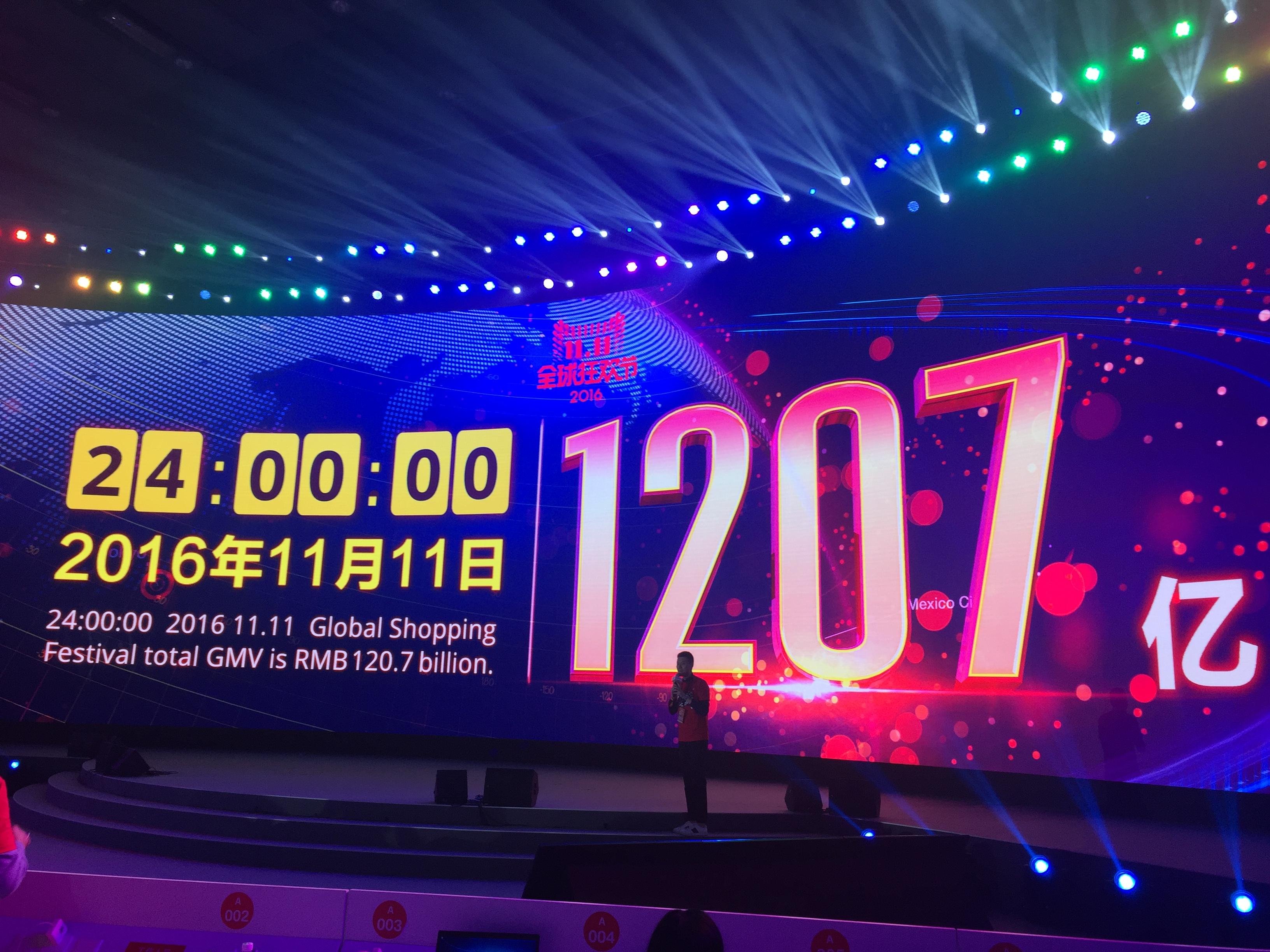 2016天猫双11谢幕 全天交易额突破1207亿