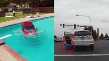 奇葩女司机,停车时压了自己