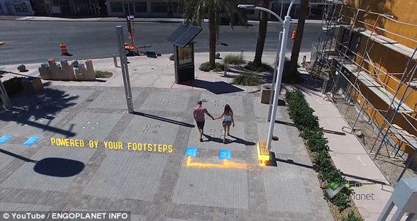 走路也发电!拉斯维加斯推出动能路灯