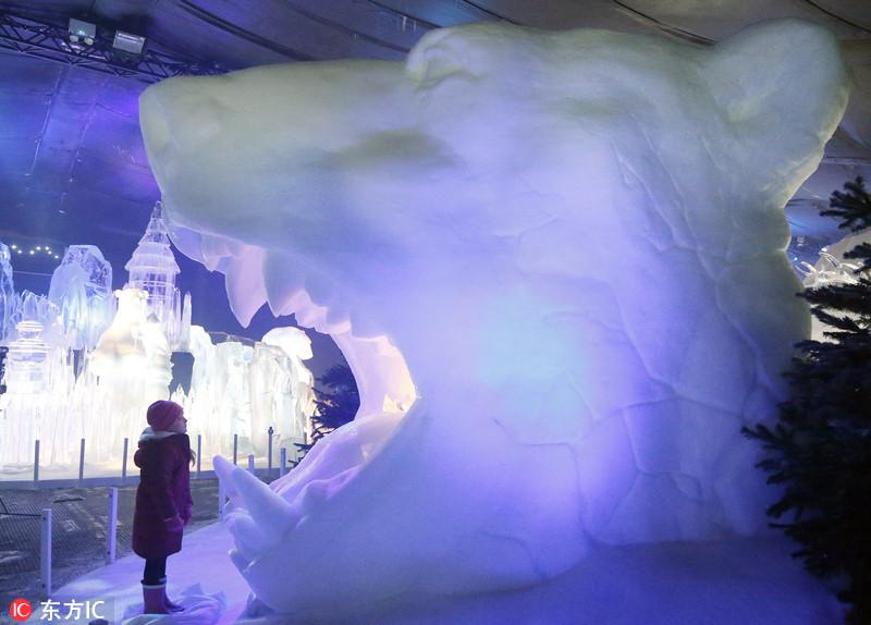 英国海德公园奇幻冰雕王国开幕 若童话世界